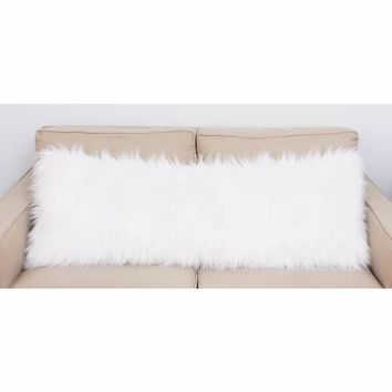 Thro by Marlo Lorenz Keller White Faux Mongolian Fur Body Pillow | Overstock.com Shopping - The Best Deals on Throw Pillows