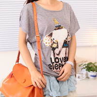 Spring Lovely Elephant Loose Bat Sleeves Graphic Tee Multiple Colors