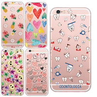 Unique Funny Tooth Fresh Fruit Pineapple Silicone Phone Pattern Design Phone Case Cover For iPhone 5 5s/6 6s Soft TPU Coque Capa