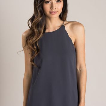 Yvonne Charcoal Scallop Halter Cami