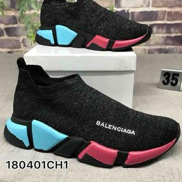 Balenciaga ¡°Socks boots¡± Woman Men Trending Breathable Sneakers Running Shoes B-CSXY Colorful soles
