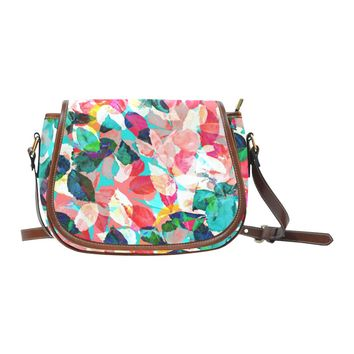 Watercolor Painting Leaves Women's Saddle Bag