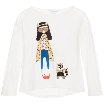 Little Marc Jacobs Girls 'Miss Marc' White T-shirt