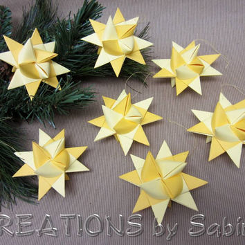 Moravian Paper Stars / Set of 7 / German Froebel Advent Christmas Danish Swedish Polish Star Ornaments / gold yellow / READY TO SHIP (29)