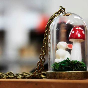 Wooden Tiny Mushroom / Toadstool Terrarium Pendant with Rabbit