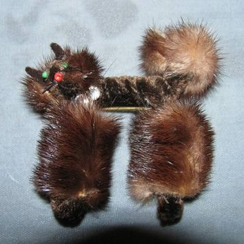 Fur Cat Pin, Brooch, Real Pussy Kat retro Rocka Billy style, kitch crazy furry, Meow, Kitty Kitty Good Luck  Stray Cats