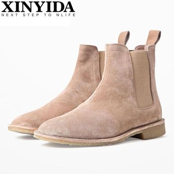 Luxury Brand Vintage Genuine Leather Men Boots Chelsea Kanye West Boots Fashion Sexy Platform Botas Mens Martin Shoes Plus Size