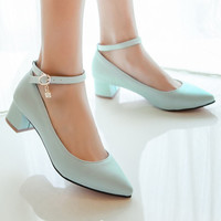 Plus Size 10 New Concise Women Pumps Pointed Toe Shoes PU Ankle Strap Career Square Low Heels Ladies Chains Solid Shoes