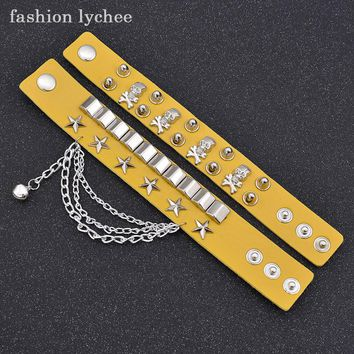 fashion lychee Punk Rock Black Color Pu Leather Chain With Skull Star Belt Buckle Rivet Bracelet For Women Accessories