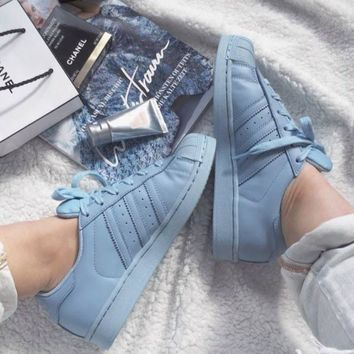 """""""Adidas"""" Shell-toe Sneakers Sport Shoes Pure Color Flats-1"""