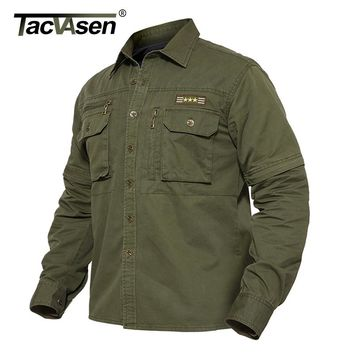 TACVASEN Light Weight Military Jacket Men Spring Cotton Jacket Coat Tactical Jackets Detachable Sleeve Cargo Coat TD-BJZS-002