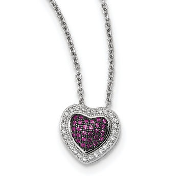 Sterling Silver & CZ Brilliant Embers Heart Necklace QMP1104