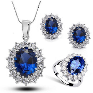 2017 New Mothers Day Mom Gifts Kate Royal Blue Crystal Necklace Earrings Ring Sets Wedding Bridesmaids Bridal Jewelry Set