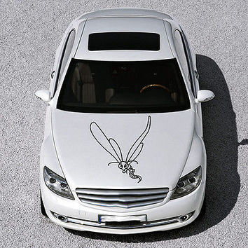 CUTE FUNNY BEE INSECT WINGS DESIGN HOOD CAR VINYL STICKER DECALS ART SV1168