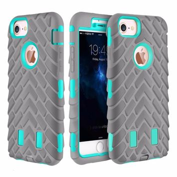 For Apple iPhone 6 7 8 Plus X Silicone + PC Anti Shock Rugged Combo Defender Texture 3D Case For iPhone 6s Tough Armor Cover