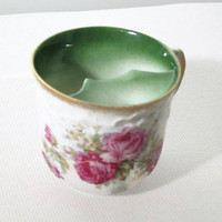 Antique Mustache Cup with Roses, Victorian Three Crown China Drink Ware, German Coffee or Tea Mug