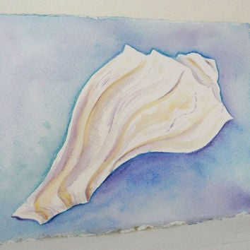 Watercolor Painting White Seashell Beach Art Watercolor Original Whelk Conch Shell Painting