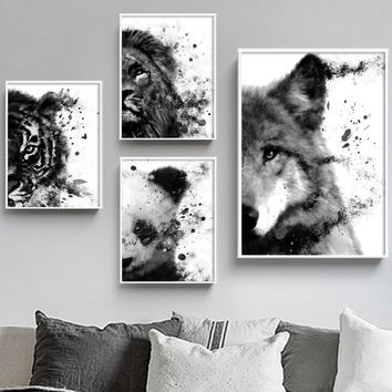 Watercolor Panda Wolf Lion Tiger Wall Art Canvas Painting Nordic Posters And Prints Decoration Pictures For Living Room Pop Art