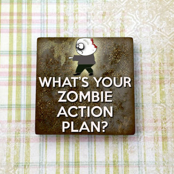 Zombie Action Plan Apocalypse Square Ceramic Tile Refrigerator Fridge Magnet Cubicle or Dorm Decor 2 Inches With Rare Earth Magnet