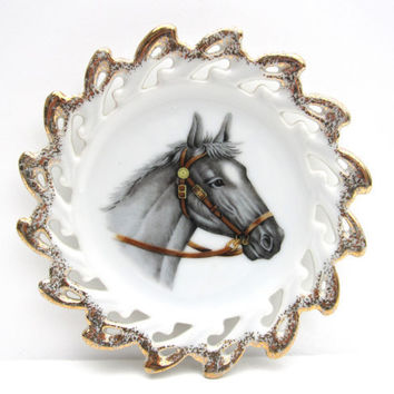 Vintage Horse Plate with Gold Scalloped Edge by CarpeDiemTreasures