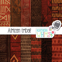 Tribal Digital Paper – textured African tribal digital paper with hand drawn patterns - scrapbook paper - printable paper - commercial use