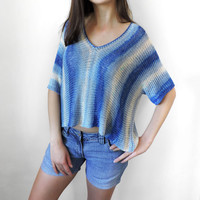 FREE SHIPPING Pure bamboo yarn crop top Blue knit womens short blouse Loose short blouse Crop tank Summer top Short sleeve cropped blouse