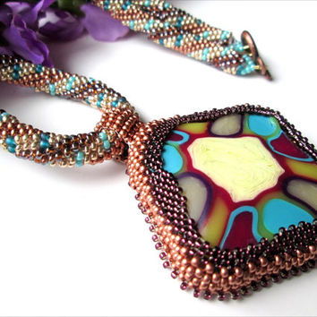 Women's Hand Beaded Stained Glass Illusion Necklace | Blue Copper Gold Yellow Pendant Brown Suede Necklace | Lady Green Eyes Jewelry