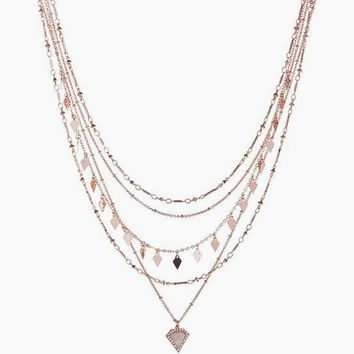 Moonstone Multi Charm Necklace - Rose Gold