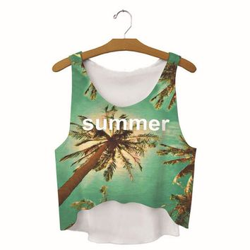 womens coconut tree summer printed show hilum tank top sports vest summer gift 08  number 1