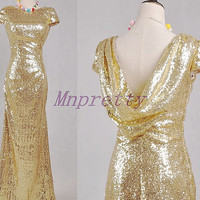 Unique Light Gold Square Back Sequined Prom Dresses,Light Gold Short Sleeves Bridesmaid Dresses,Homecoming Dresses,Formal Party Grown