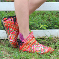 Womens Funky Ankle Boots Ethnic Hmong Embroidered In Orange and Pink