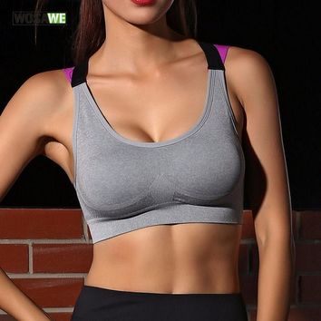 WOSAWE Yoga Push Up Sports Bra for Womens Gym Running Padded Tank Top Athletic Underwear Shockproof Strappy Sport Bra Vest