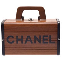 Authentic Chanel Women's Wood Vanity Bag Black,Brown 802500019195000