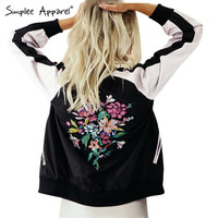 Simplee Apparel Cool floral embroidery bomber jacket Summer stain women jacket casual sport coat Sukajan basic baseball jackets