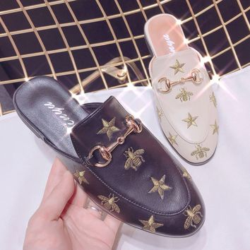 GUCCI Bee  Women Fashion Embroidery Slipper Mules Flats Shoes