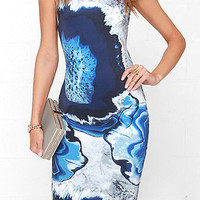 Blue Turtleneck Printed Sleeveless Bodycon Dress
