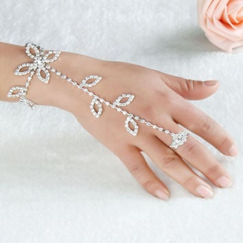 Vintage Glitter Rhinestone Leaf Flower Hand Harness Bracelet Slave Chain Link Jewelry Fashion Hand Jewelry