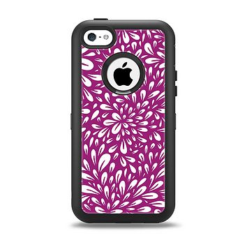 The Purple & White Floral Sprout Apple iPhone 5c Otterbox Defender Case Skin Set