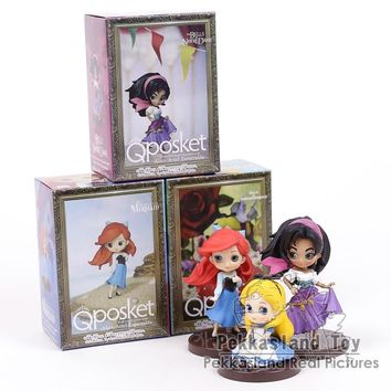 Q Posket Characters The Little Mermaid Ariel Alice in Wonderland Esmeralda PVC Figures Toys Princesses Dolls 3pcs/set 6~8cm