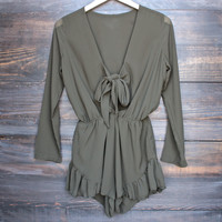 Lioness green with envy ruffle hem romper - khaki green