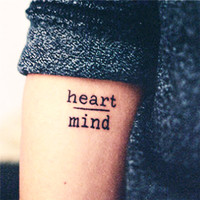 Waterproof Temporary Tattoo Courage Fear ~ Heart Mind Letters Design