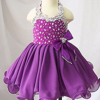 Customize toddler/baby/children/kids Girl's glitz Pageant evening/prom Dress
