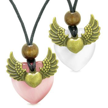 Angel Wings Love Couple Best Friends Heart Yin Yang Amulet Pink White Simulated Cats Eye Necklaces