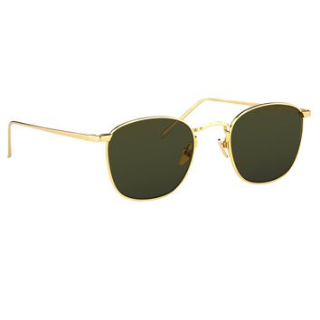 Square Sunglasses by Linda Farrow in Yellow Gold with a Solid Lens. | Linda Farrow