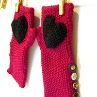 Fingerless Knitted Gloves, Mittens, Hand warmers,  Magenta. Black Heart, Vintage Buttons