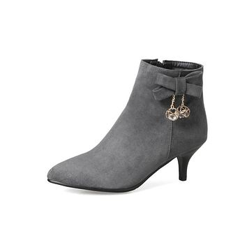 Pointed Tote Bow Rhinestone Faux Suede Short Boots for Women 9943