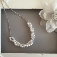 2pc Costume Bridal Set - Twist Faux Pearl Silver Plated Earrings & Statement Necklace - Costume Jewelry