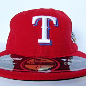 New Era Official Texas Rangers Men's Baseball Red Cap, Size 7 7/8 Hat USA MLB