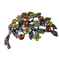 Rivoli Rhinestone Brooch Green Amber Pewter Finish Signed KC