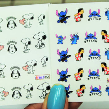 2 sheets Nail Decal, Lilo and stitch Nail Art, Snoopy Nail Design, water transfer, Nail Stickers, Nails,Nail Art
